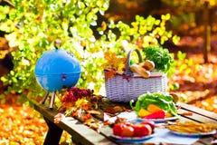 格栅和野餐篮子在秋天庭院里 库存照片