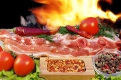 格栅烤肉取笑火焰胸肉木炭, XXXL 免版税图库摄影