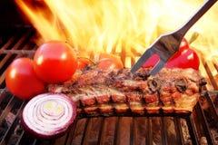 格栅烤肉取笑火焰胸肉木炭, XXXL 免版税库存照片