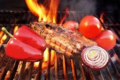 格栅烤肉取笑火焰胸肉木炭, XXXL 库存图片