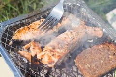 格栅空白查出的蔬菜 蕃茄、夏南瓜、鸡和黄瓜 在栅格格栅是油煎的菜 图库摄影