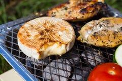 格栅空白查出的蔬菜 蕃茄、夏南瓜、鸡和黄瓜 在栅格格栅是油煎的菜 免版税库存照片