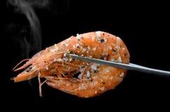 格栅虾BBQ样式 免版税图库摄影
