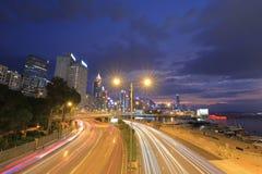 格洛斯特路,一部分的铜锣湾夜 库存图片