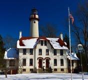 格罗斯点在雪的光驻地 免版税库存图片