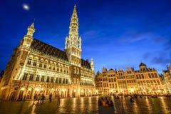 格罗特Markt在布鲁塞尔,比利时 免版税图库摄影