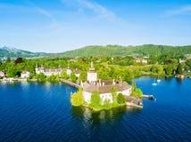 格蒙登城堡鸟瞰图 图库摄影