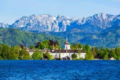 格蒙登Schloss Ort,奥地利 免版税库存照片