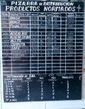 价格表在商店在哈瓦那,古巴 免版税库存图片