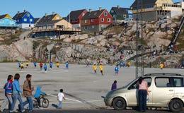 格陵兰符合足球 免版税图库摄影