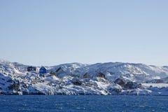 格陵兰西方illimanaq的村庄 库存照片