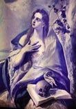 格雷考绘画的玛丽马格达莱纳在从Fodele的出生地议院博物馆 图库摄影
