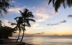格洛斯在日落,圣卢西亚的小岛海滩 免版税库存照片