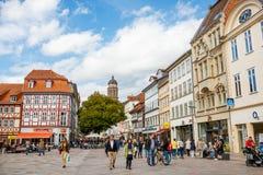 格廷根,德国- 2015 9月14日,中心格廷根老镇 主要集市广场 免版税图库摄影