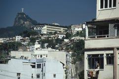 格洛里亚区和Corcovado小山,里约热内卢,巴西 免版税库存图片