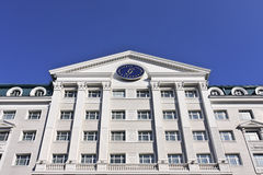 格洛里亚反对蓝天的旅馆旅馆,哈尔滨,中国 免版税库存图片
