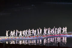 桂林,中国, 2014年3月,第24,印象刘三姐展示perfo 免版税库存照片