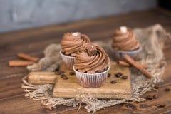 桂香鲜美巧克力杯形蛋糕和棍子在一个木板的 o 图库摄影