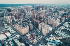 桃园市地平线鸟瞰图-亚洲现代企业城市 图库摄影