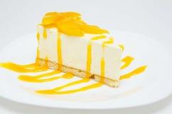 桃子乳酪蛋糕 库存照片