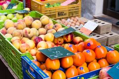 桃子和柿子果子待售在锡内乌市场上 免版税库存照片