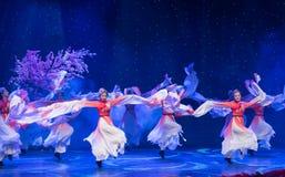 桃子开花长的袖子特性和歌曲押韵中国民间舞 库存照片