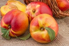 桃子或油桃在粗麻布背景 库存图片