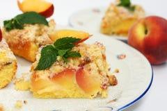 桃子蛋糕 库存照片