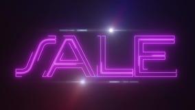 桃红色与发光的轻的光学火光动画的lazer霓虹销售文本在黑背景-新的质量减速火箭的葡萄酒 皇族释放例证
