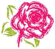 桃红色与木炭刷子的玫瑰绘画 免版税库存图片