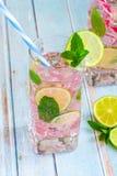 桃红色与石灰和新鲜薄荷的玫瑰柠檬水 库存照片
