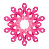 桃红色丝带乳腺癌了悟符号装饰聚集的人的花、标志,帮助和支持 免版税图库摄影