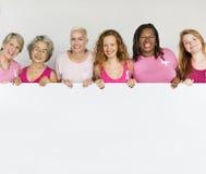 桃红色丝带乳腺癌女孩女性拷贝空间横幅Conce 免版税库存图片