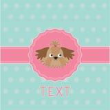桃红色丝带和标签与Shih慈济狗。卡片。 免版税库存照片