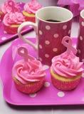 桃红色丝带早晨茶-垂直。 免版税库存照片