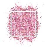 桃红色五彩纸屑在白方块框架 与文本地方的浪漫华伦泰背景 免版税库存图片