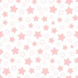桃红色五角形星的传染媒介无缝的样式 免版税库存照片