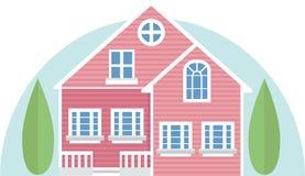 桃红色传染媒介房子 库存图片