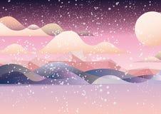 桃红色似梦幻般的风景卡片 向量例证
