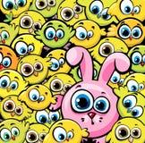 桃红色兔宝宝和黄色鸡 免版税图库摄影