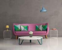 桃红色典雅的现代沙发内部 库存照片