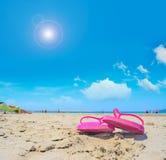 桃红色凉鞋和明亮的太阳 库存图片