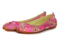 桃红色减速火箭的鞋子清单妇女的 图库摄影