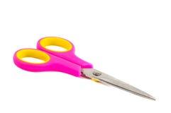 桃红色剪刀。对象在白色被隔绝 免版税库存图片