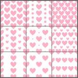 桃红色加热被设置的简单的无缝的样式,传染媒介 库存例证