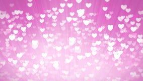 桃红色发光的心脏轻的情人节背景 股票视频
