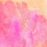 桃红色和橙色方形的水彩弄脏背景 免版税库存图片