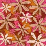 桃红色和橙色质朴的花卉样式俯就 库存图片