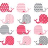 桃红色和灰色逗人喜爱的鲸鱼收藏 库存例证