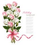 桃红色和白玫瑰和桃红色丝带花束  免版税库存照片